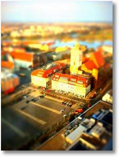 tilt shift effekt frankfurt oder brunnenplatz marienkirche